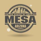 盖印或与里面文本Mesa的标签,亚利桑那 向量例证