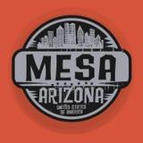 盖印或与Mesa的名字的标签,亚利桑那 皇族释放例证