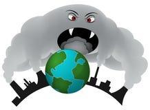 盖地球的烟。大气污染。 库存图片