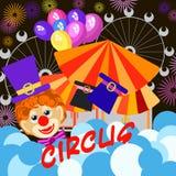 盖子、横幅或者飞行物的背景 马戏图象,小丑,气球 免版税库存照片