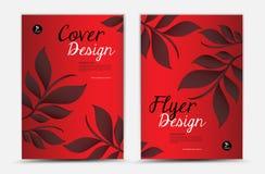 盖子传染媒介模板设计,企业小册子飞行物,叶子背景 向量例证