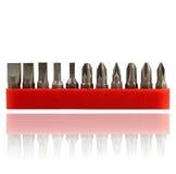 盖子塑料红色螺丝刀被设置的清单 免版税图库摄影
