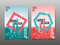 盖子小册子设计模板,年终报告,飞行物,平的des 免版税图库摄影
