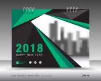 盖子日历2018年模板 绿皮书布局 企业小册子飞行物设计 登广告者做广告 小册子 库存例证