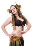 盖尔自然有灵感的幻想服装的少妇 免版税库存图片