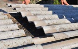 盖屋顶的人修理危险石棉老瓦 屋顶修理 库存图片