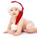 盖帽儿童圣诞节一点红色佩带 库存照片