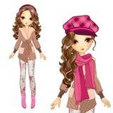 盖帽和外套的时尚女孩 免版税图库摄影