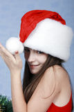 盖帽圣诞节女孩纵向 库存照片
