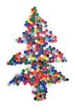盖帽圣诞节颜色塑料结构树 免版税库存图片