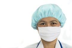 盖帽头发外科屏蔽的护士 免版税库存图片