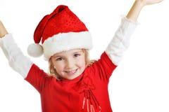 盖帽女孩圣诞老人 库存图片