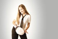 盖帽女孩微笑的白色 免版税库存图片