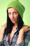 盖帽女孩绿色 免版税库存照片