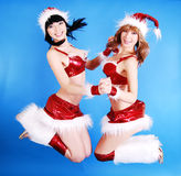 盖帽女性模型圣诞老人 库存图片