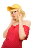 盖帽妇女黄色 库存照片