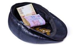 盖帽接近的皮革货币出现了与 库存照片