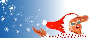 盖帽毛皮愉快的查找的圣诞老人星期&# 图库摄影