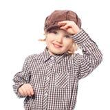 盖帽滑稽的女孩一半查出的长度白色 免版税库存图片