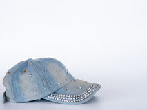 盖帽由棉花基因做成 在一个空白背景 库存照片