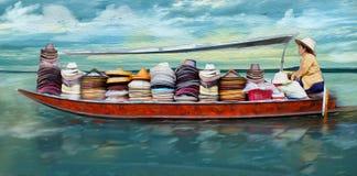 盖帽的妇女卖主 例证 图库摄影