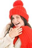 盖帽红色围巾佩带的妇女 库存照片