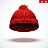 盖帽被编织的羊毛 冬天季节性红色帽子 免版税库存图片