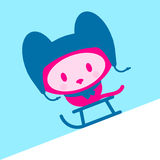 盖帽逗人喜爱的小猫围巾雪撬 免版税库存图片