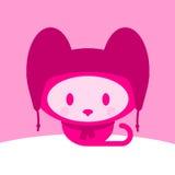 盖帽逗人喜爱的小猫围巾 免版税库存图片