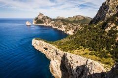 盖帽Formentor,马略卡剧烈的岩石沿海  库存图片