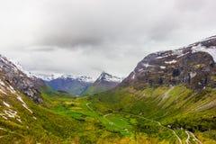 盖朗厄尔峡湾,挪威美丽的景色  库存照片