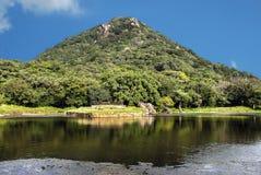盖由俯视湖的植被小山 免版税库存图片