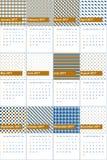 盗版金子和威尼斯蓝色色的几何样式日历2016年 免版税库存照片