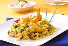 盘典型肉菜饭的西班牙语 库存照片