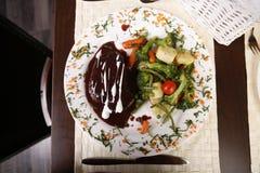 盘典雅的餐馆顶视图 免版税库存照片