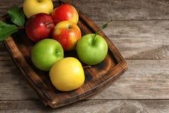 盘子用成熟水多的苹果 图库摄影
