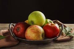 盘子用成熟水多的苹果 免版税库存图片
