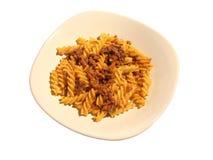 盘意大利面食蔬菜炖肉 免版税图库摄影