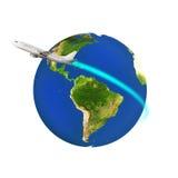 盘旋五颜六色的地球的飞机 皇族释放例证