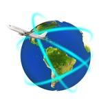 盘旋五颜六色的地球的飞机 向量例证
