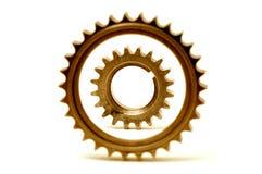 盘旋同心形成的齿轮金黄二 免版税库存照片