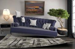 盘旋在客厅的失重沙发 3d例证 库存图片