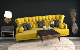 盘旋在客厅的失重沙发 3d例证 免版税库存照片
