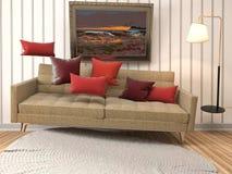 盘旋在客厅的失重沙发 3d例证 免版税库存图片