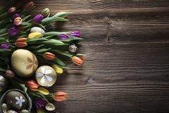 盘旋您色的复活节彩蛋eps10空间文本主题的向量 图库摄影
