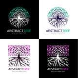 盘旋抽象树商标和正方形抽象树商标传染媒介艺术设计 免版税库存图片