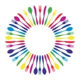 盘旋的五颜六色的刀叉餐具坛场餐馆 皇族释放例证