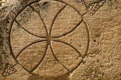 盘旋类似在岩石铭刻的篮球球在Nabatean市的挖掘Mamshit 图库摄影