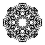 盘旋鞋带装饰品,圆的装饰几何小垫布样式,黑白被隔绝的坛场 库存例证