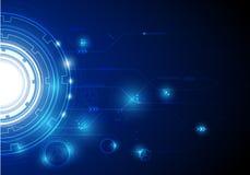 盘旋高科技与在蓝色背景的各种各样的技术元素 免版税图库摄影